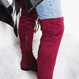 Cranberry/Burgundy Faux Suede Thigh High Boot
